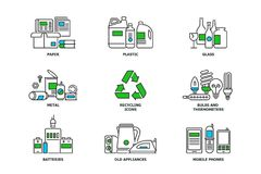 Set of recycling icons in line design. Recycle vector flat illustrations. Waste paper, metal, plastic, glass, bulbs, e. Waste, mobiles and appliances icons stock illustration