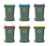Set of recycling wheelie bin icons, vector  Royalty Free Stock Image