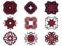 Set of red abstract fractal pattern Royalty Free Stock Photography
