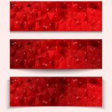 Set of red abstract geometric polygonal banners. Vector illustrations Stock Images