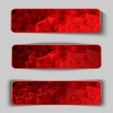 Set of red abstract geometric polygonal elements. Vector illustrations Stock Image
