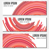 Set of red abstract header banners with curved lines and place for text. Royalty Free Stock Image