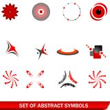 Set of red abstract symbols. Vector set of red abstract symbols Stock Photo
