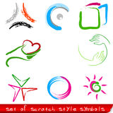 Set of red abstract symbols Stock Image