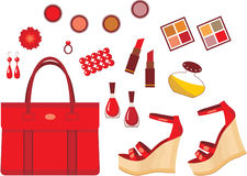 Set of red accessories Stock Images