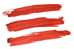 Set of red acryl brush strokes Royalty Free Stock Image