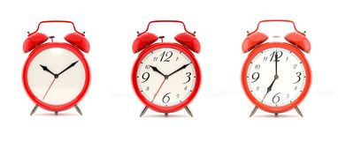 Set of 4 red alarm clocks Royalty Free Stock Image