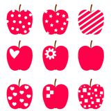 Set of red apples. Royalty Free Stock Photos