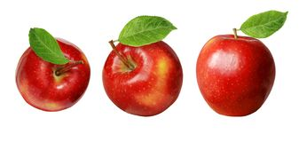 Set of red apples with leaves. Isolated on white stock photos