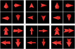 Set red arrows in all directions Stock Photo