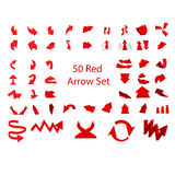 50 set of red arrows. Graphic vector eps 10 stock illustration