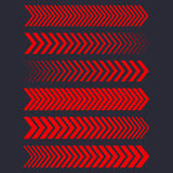 Set of red arrows. Vector linear dots Royalty Free Stock Photos