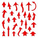 Set of red arrows on a white background. A set of arrows on a white background royalty free illustration