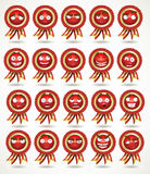 Set of red awards in various emotional stat royalty free stock photography