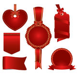Set of red badges label and ribbon, vector tag illustration. Set of red badges label and ribbon, Greeting card, vector tag illustration Royalty Free Stock Images
