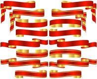Set of Red Banner Scrolls. With Golden Accents Royalty Free Stock Image