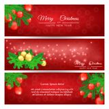 Set of red banners with christmas tree and christmas balls. Set of red New Year greeting banners with Christmas tree and Christmas balls Stock Photos