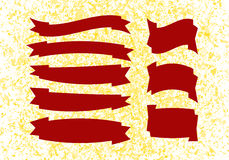 Set of red banners on ink golden splat background Royalty Free Stock Images