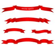 Set of red beautiful ribbon banners. Vector illustration vector illustration