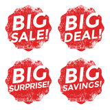 Set of red big sale grunge stamp Stock Photos