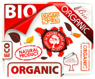 Set of red bio, eco, organic elements. Labels, stickers, stamps, ribbons Stock Photo