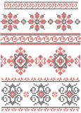 Set of red and black cross stitched borders Stock Photos