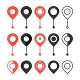 Set of red and black map pin. Concept of locate, discovery, logistics, user interface element, minimal ui. isolated on white background. flat style trend Royalty Free Stock Images