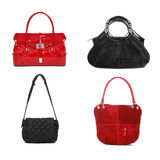 Set of red and black women bags Royalty Free Stock Images