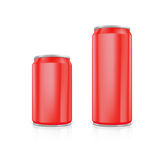 Set of red blank aluminium cans. Royalty Free Stock Images