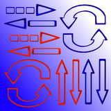Set of red and blue arrows Stock Photo