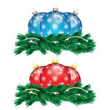 Set of red and blue Christmas balls and Christmas tree Royalty Free Stock Images