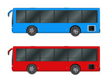 Set red, blue City bus template. Passenger transport. Vector illustration eps 10 Royalty Free Stock Photos
