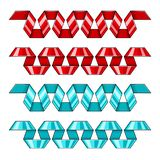 Set of red and blue decorative spiral ribbons banners. Vector illustration. royalty free illustration