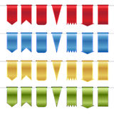 Set of red, blue, gold  and green glossy ribbons Stock Image