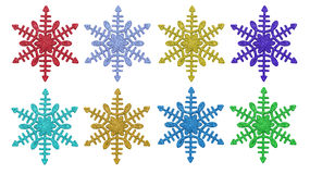 Set of red, blue, gold, lilac, green, snowflakes Stock Photos