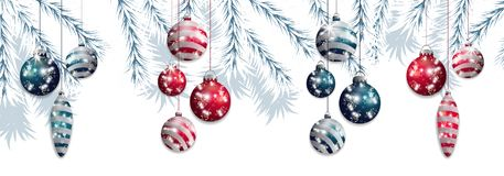 Set red and blue hanging Christmas baubles on a background of white fir branches. Decorative elements for holiday design. Vector. Illustration Stock Image