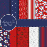 Set of red and blue paper for scrapbook Royalty Free Stock Images