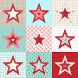 Set of red and blue patchwork decorative stars, christmas motive illustration Royalty Free Stock Image