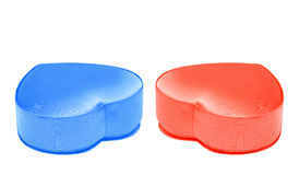 Set of red and blue satin boxes in the form of heart for St. Valentine`s Day Stock Photos