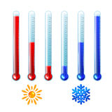 Set of red and blue thermometers Royalty Free Stock Photography