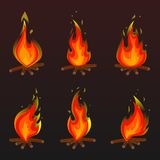 Set of red fire bonfire icons. Vector illustration. Set of red bonfire icons. Flat  illustration. Collection of red with orange flames and bonfires isolated on Royalty Free Stock Image