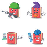 Set of red book character with army elf professor architect Royalty Free Stock Photography