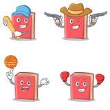 Set of red book character with baseball cowboy basketball boxing Royalty Free Stock Photo