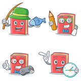 Set of red book character with fishing student gamer clock. Vector illustration stock illustration