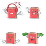 Set of red book character with listening call me money eye. Vector illustration Stock Photos