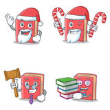 Set of red book character with Santa candy judge student. Vector illustration Royalty Free Stock Photos