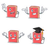 Set of red book character with two finger wink graduation Stock Photos
