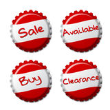 Set of red bottle caps  on white background Royalty Free Stock Photos