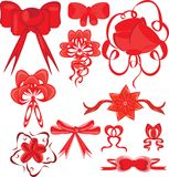 Set of red bows on the isolated background Royalty Free Stock Photo
