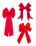 Set of Red Bows and Ribbons. Set of Three Red Bows and Ribbons on White Background Royalty Free Stock Photo